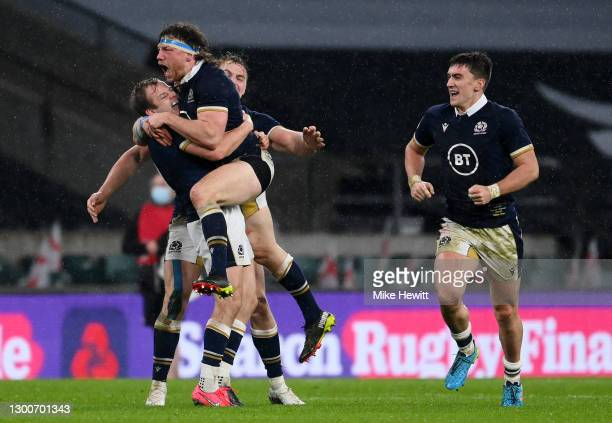 Hamish Watson and Scott Steele of Scotland celebrate following their side's victory after the Guinness Six Nations match between England and Scotland...
