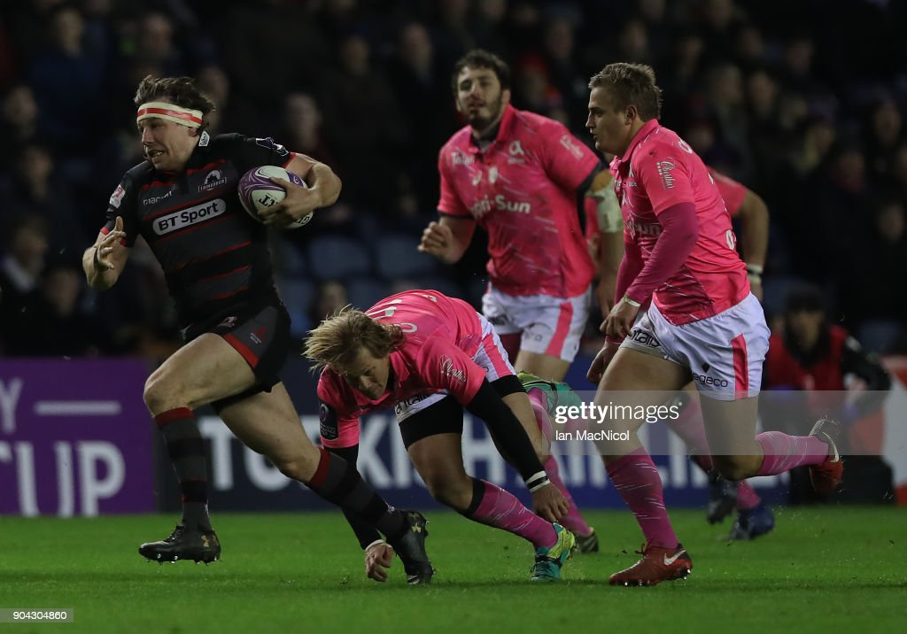 Hamish Watson of Edinburgh Rugby brakes away to score his team's first try during the European Rugby Challenge Cup match between Edinburgh and Stade Francais Paris at Murrayfield Stadium on January 12, 2018 in Edinburgh, United Kingdom.