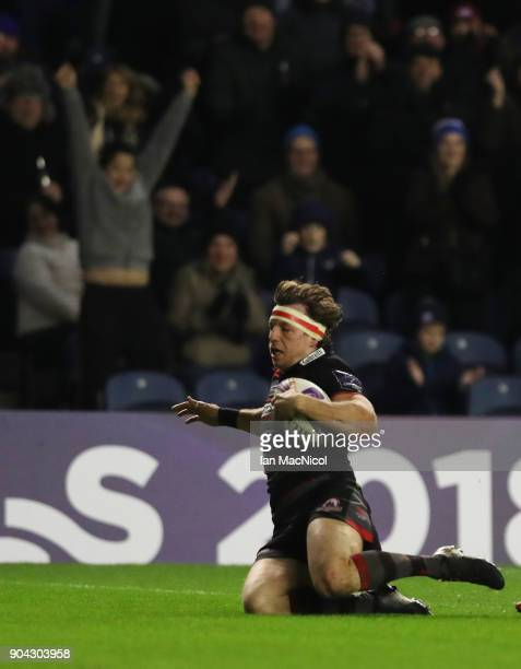 Hamish Watson of Edinburgh Rugby scores his team's first try during the European Rugby Challenge Cup match between Edinburgh and Stade Francais Paris...