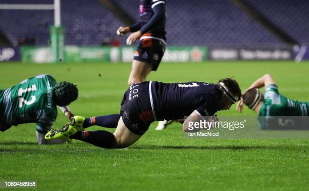 Hamish Watson of Edinburgh Rugby scores the opening try during the Champions Cup match between Edinburgh Rugby and Newcastle Falcons at Murrayfield...