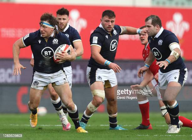 Hamish Watson of Scotland charges upfield during the 2020 Guinness Six Nations match between Wales and Scotland at Parc y Scarlets on October 31,...