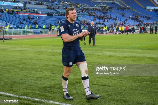 Hamish Watson of Scotland greets supporters after defeating Italy in the 2020 Guinness Six Nations match between Italy and Scotland at Stadio...