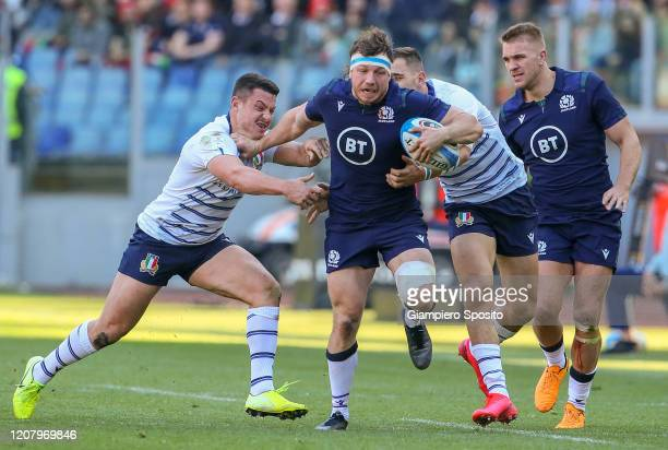 Hamish Watson of Scotland in action during the 2020 Guinness Six Nations match between Italy and Scotland at Stadio Olimpico on February 22 2020 in...