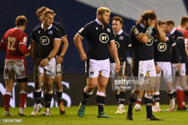 Hamish Watson of Scotland looks dejected following the Guinness Six Nations match between Scotland and Wales at Murrayfield on February 13, 2021 in...