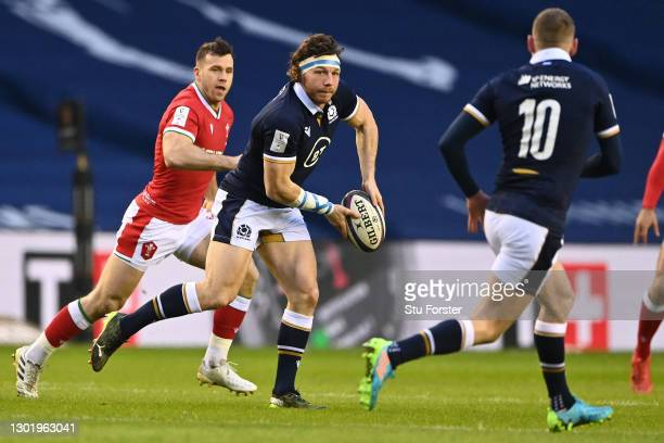 Hamish Watson of Scotland passes the ball during the Guinness Six Nations match between Scotland and Wales at Murrayfield on February 13, 2021 in...