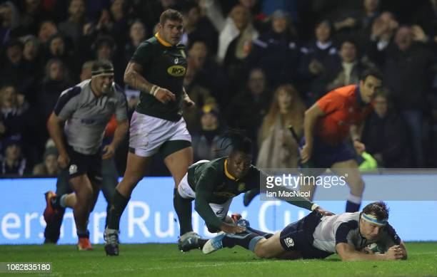 Hamish Watson of Scotland scores his team's second try during the International Friendly match between Scotland and South Africa at Murrayfield...