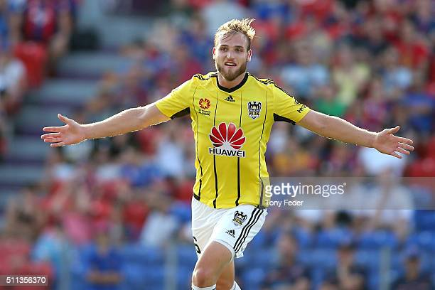 Hamish Watson of the Phoenix celebrates a goal during the round 20 A-League match between the Newcastle Jets and Wellington Phoenix at Hunter Stadium...