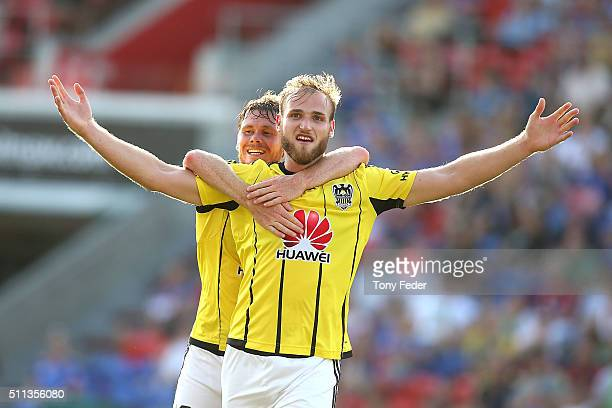 Hamish Watson of the Phoenix celebrates a goal with team mate Michael McGlinchey during the round 20 A-League match between the Newcastle Jets and...