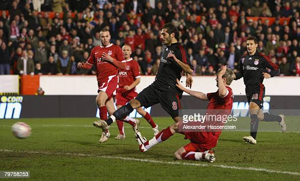 Hamit Altintop of Bayern Munich scores the 4rd goal during the UEFA Cup round of 32 first leg match between FC Aberdeen and FC Bayern Munich at the...