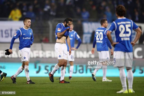 Hamit Altintop of Darmstadt and team mates react after the Second Bundesliga match between SV Darmstadt 98 and SV Sandhausen at JonathanHeimesStadion...