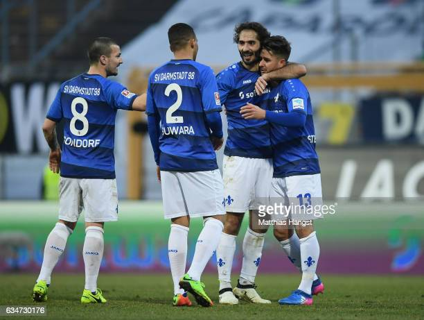 Hamit Altintop of Darmstadt celebrates with his teammates after the Bundesliga match between SV Darmstadt 98 and Borussia Dortmund at Stadion am...