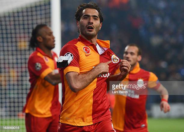 Hamit Altintop of Galatasaray celebrates after scoring his teams first goal during the UEFA Champions League round of 16 second leg match between FC...