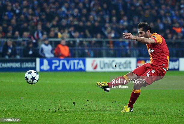 Hamit Altintop of Galatasaray scores his teams first goal during the UEFA Champions League round of 16 second leg match between FC Schalke 04 and...
