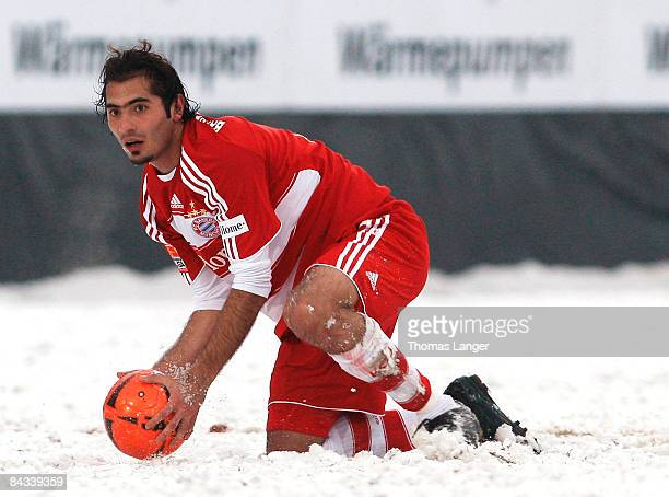 Hamit Altintop of Munich is seen with the ball during the friendly match between FC Eintracht Bamberg and FC Bayern Muenchen on January 17, 2009 at...