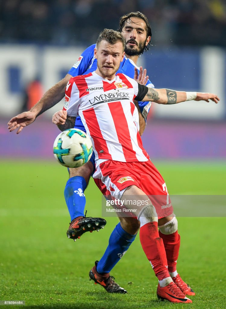 Hamit Altintop of SV Darmstadt 98 and Marcel Hartel of 1 FC Union Berlin during the Second Bundesliga match between Union Berlin and SC Darmstadt 98 on November 24, 2017 in Berlin, Germany.