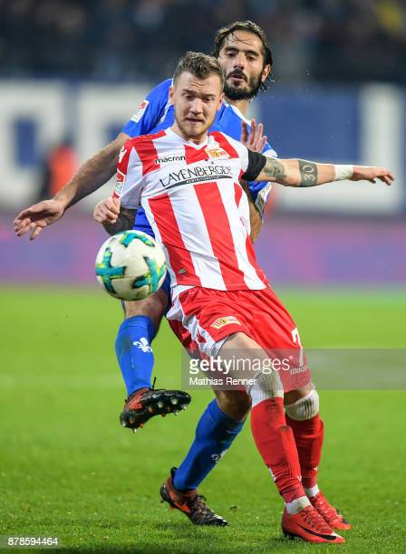 Hamit Altintop of SV Darmstadt 98 and Marcel Hartel of 1 FC Union Berlin during the Second Bundesliga match between Union Berlin and SC Darmstadt 98...