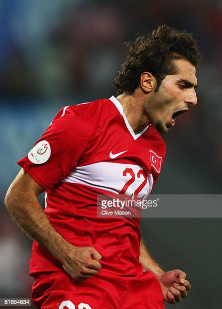 Hamit Altintop Turkey celebrates his successful penalty kick in the shoot out during the UEFA EURO 2008 Quarter Final match between Croatia and...