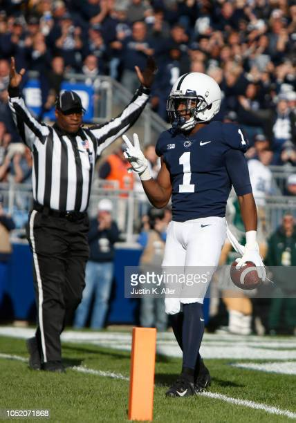 Hamler of the Penn State Nittany Lions celebrates after catching a 5 yard touchdown pass in the first half against the Michigan State Spartans on...