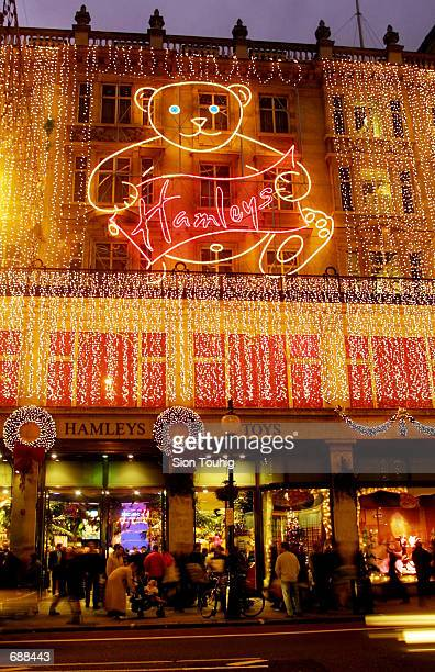 Hamleys Toy Store is lit up by Christmas lights December 19 2001 on Regent Street in Londons West End