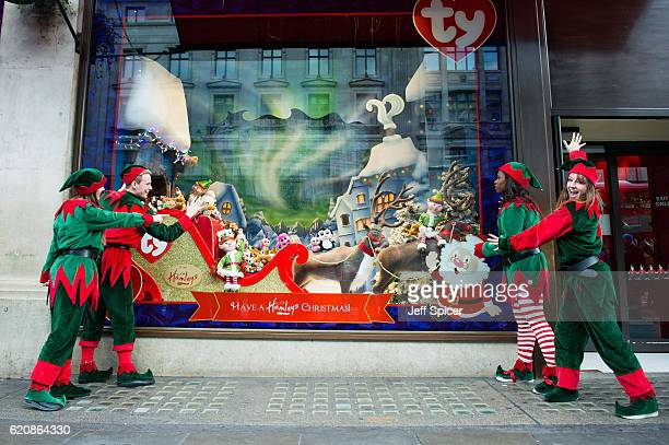 Hamleys unveil their Christmas window display at their Oxford Street store on Novermber 3 2016 in London England