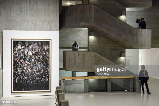 'Hamm Bergwerk Ost' by Andreas Gursky is seen as members of the media explore the reopened Hayward Gallery on January 24 2018 in London England...