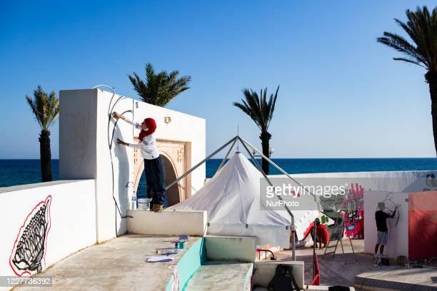 Hammamet, Tunisia, 8 August 2016. Oumema, a graffer, makes a graffiti during a hip-hop festival.