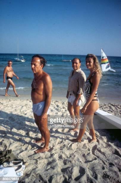 Hammamet Tunisia Fedele Confalonieri Silvio Berlusconi and Licia Colo at Hammamet beach