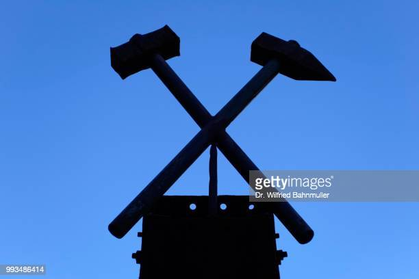 hammer and pick, symbol of mining, ridnauntal, south tyrol, italy - percussion mallet stock pictures, royalty-free photos & images