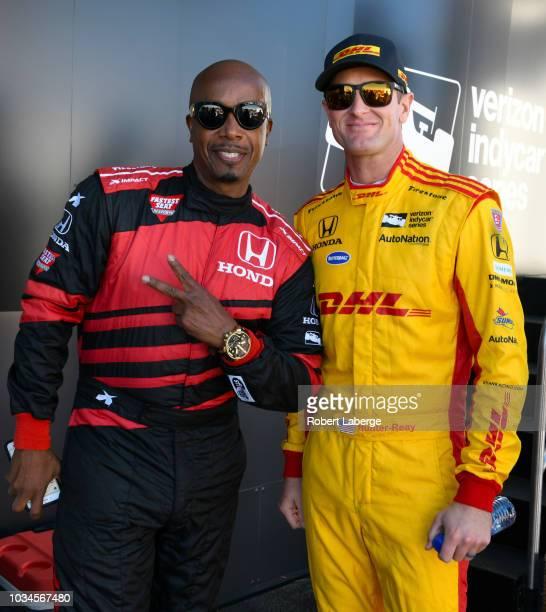 Hammer and Ryan HunterReay driver of the Andretti Autosport Honda before the start of the Verizon IndyCar Series Sonoma Grand Prix at Sonoma Raceway...