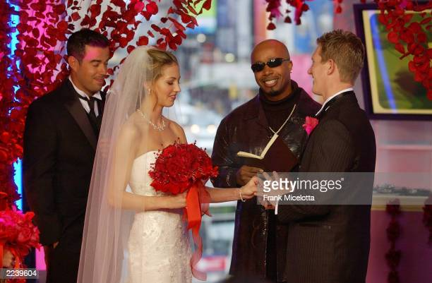 Hammer marries Erica Jago and Jared Thear on MTV's TRL Valentine's Day Wedding at the MTV Times Square Studios February 14, 2003 in New York City.