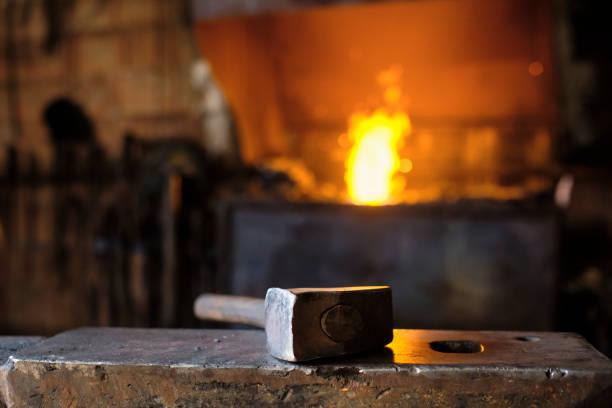 Hammer on anvil at blacksmith's shop
