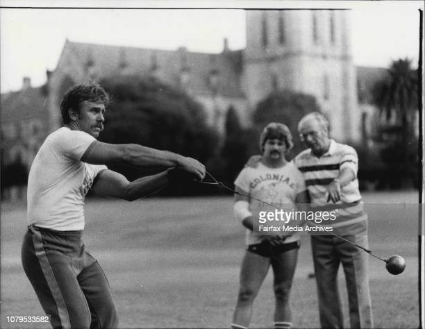 Hammer throwing at St Johns Oval Sydney UniversityErnst Klement National West German hammer throwing coach instructing selected NSW throwersWal...