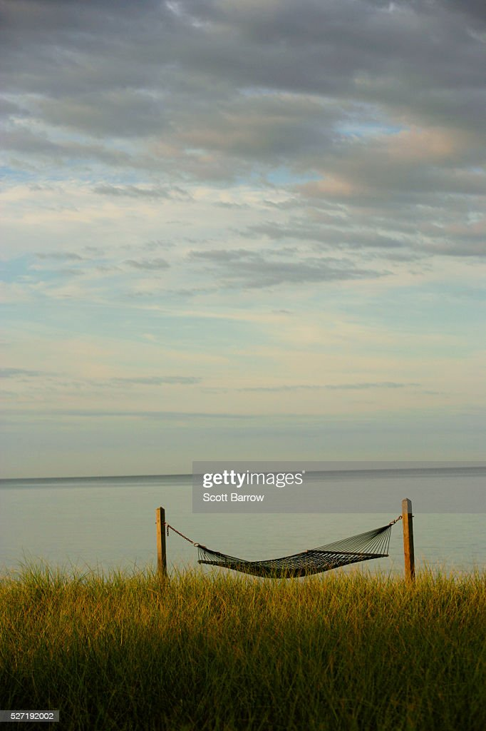 Hammock beside a quiet lake : Stockfoto