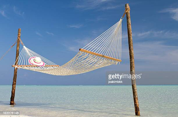 Hammock in paradise water on the beach