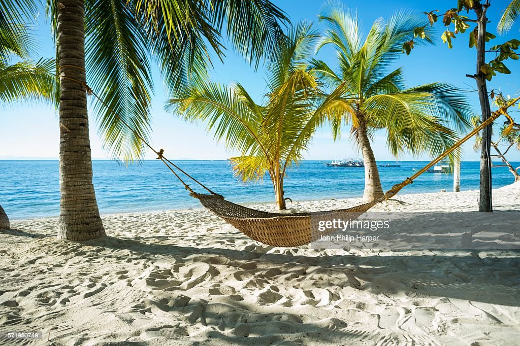Hammock on tropical beach, Cebu, Philippines : ストックフォト