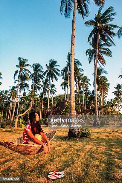 hammock under the trees - palawan stock pictures, royalty-free photos & images