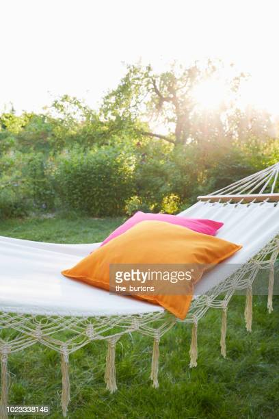hammock with pillows in garden at sunset - pillow stock pictures, royalty-free photos & images