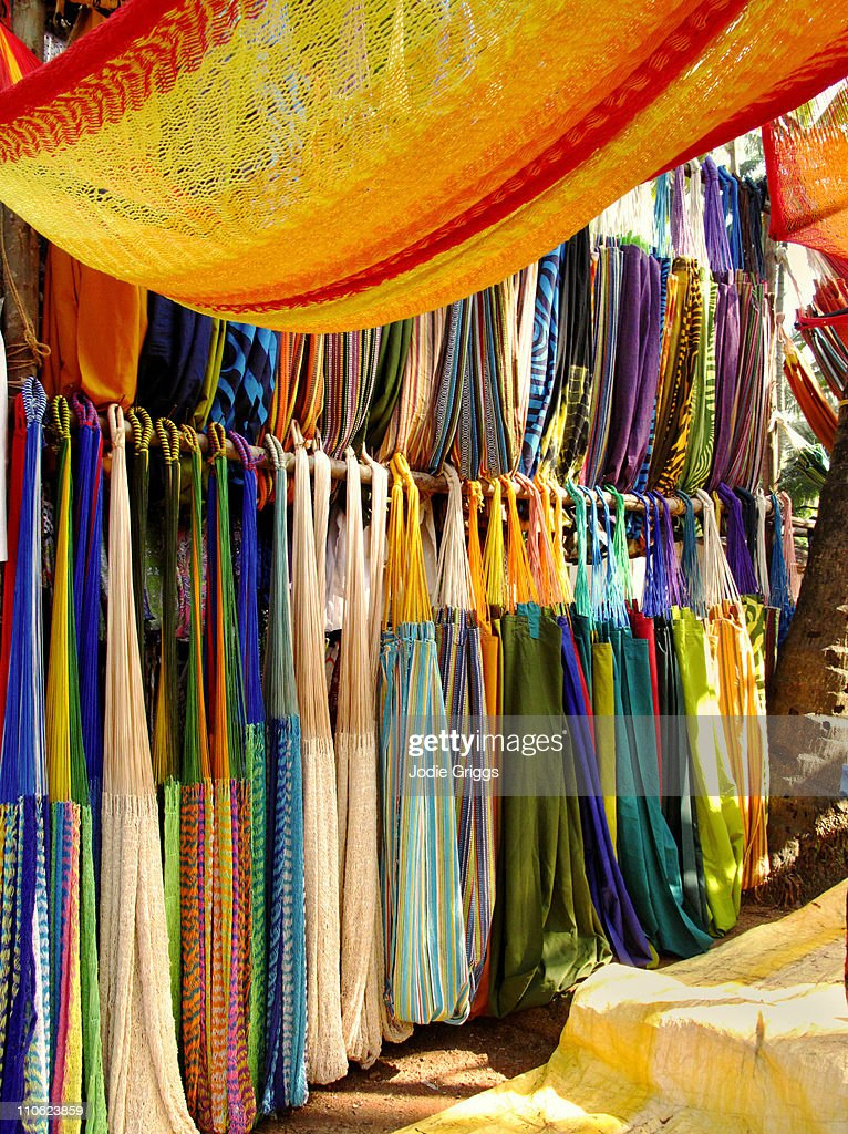 Hammocks for Sale at Anjuna Market : Stock Photo