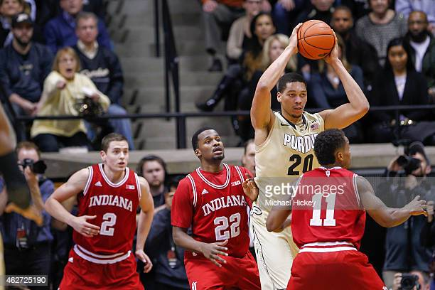 J Hammons of the Purdue Boilermakers looks to pass the ball off against the Indiana Hoosiers at Mackey Arena on January 28 2015 in West Lafayette...