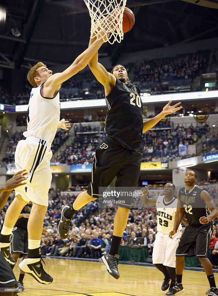 A.J. Hammons #20 of the Purdue Boilermakers shoots the ball in the game against the Butler Bulldogs during the 2013 Crossroads Classic at Bankers Life Fieldhouse on December 14, 2013 in Indianapolis, Indiana.