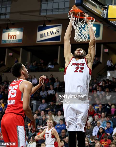J Hammons of the Sioux Falls Skyforce slams home two points against the Memphis Hustle during an NBA GLeague game on December 25 2017 at the Sanford...