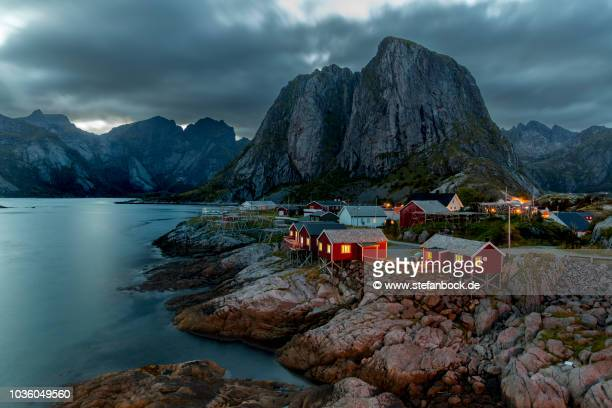hamnoy at dawn - dämmerung stock pictures, royalty-free photos & images