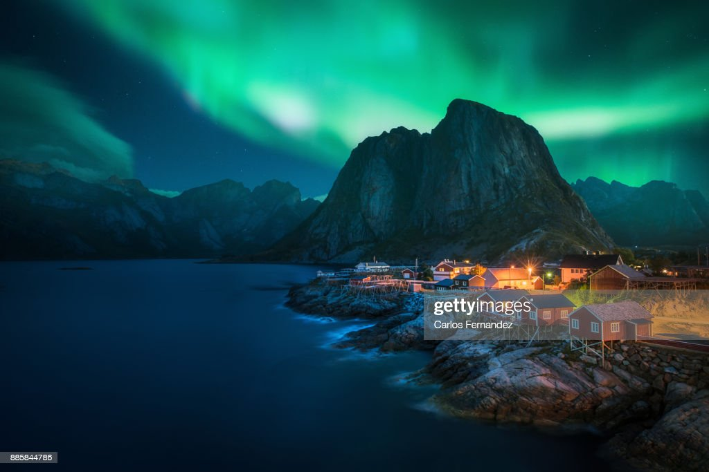 Hamnoy Aurora, Nordlands : Stock Photo
