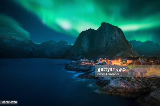 hamnoy aurora, nordlands - aurora borealis stock pictures, royalty-free photos & images