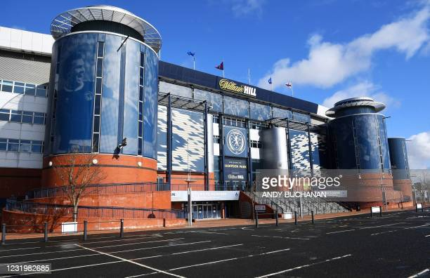 Hampden Park stadium is pictured in Glasgow on March 25, 2021.