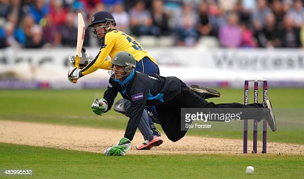 Hampshire batsman Adam Wheater picks up some runs despite the attempts of keeper Ben Cox during the NatWest T20 Blast quarter final match between...