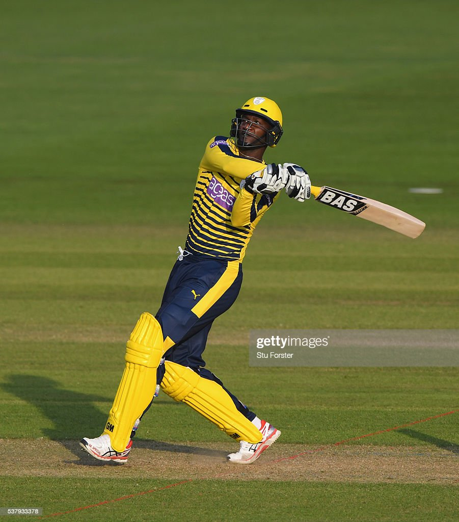 Hampshire batsman Darren Sammy hits out during the NatWest T20 Blast match between Glamorgan and Hampshire at SWALEC Stadium on June 3, 2016 in Cardiff, Wales.