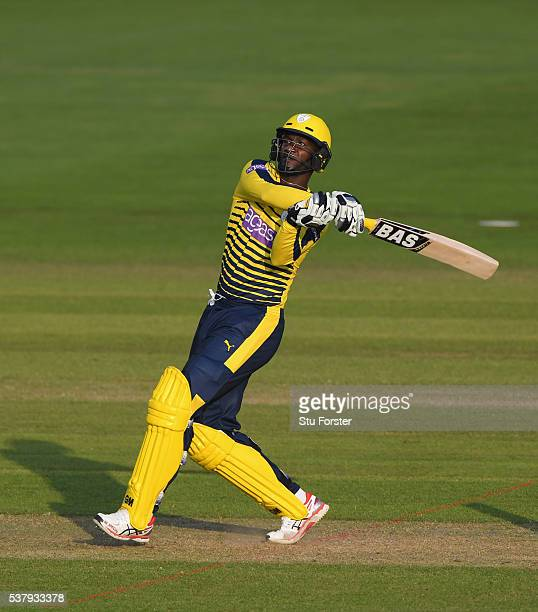 Hampshire batsman Darren Sammy hits out during the NatWest T20 Blast match between Glamorgan and Hampshire at SWALEC Stadium on June 3 2016 in...
