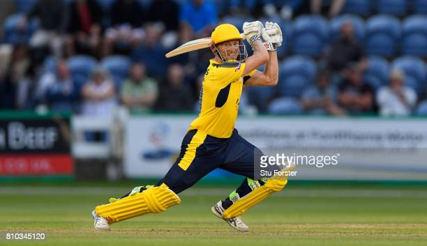 Hampshire batsman George Bailey hits out during the NatWest T20 Blast match between Glamorgan and Hampshire at SWALEC Stadium on July 7 2017 in...