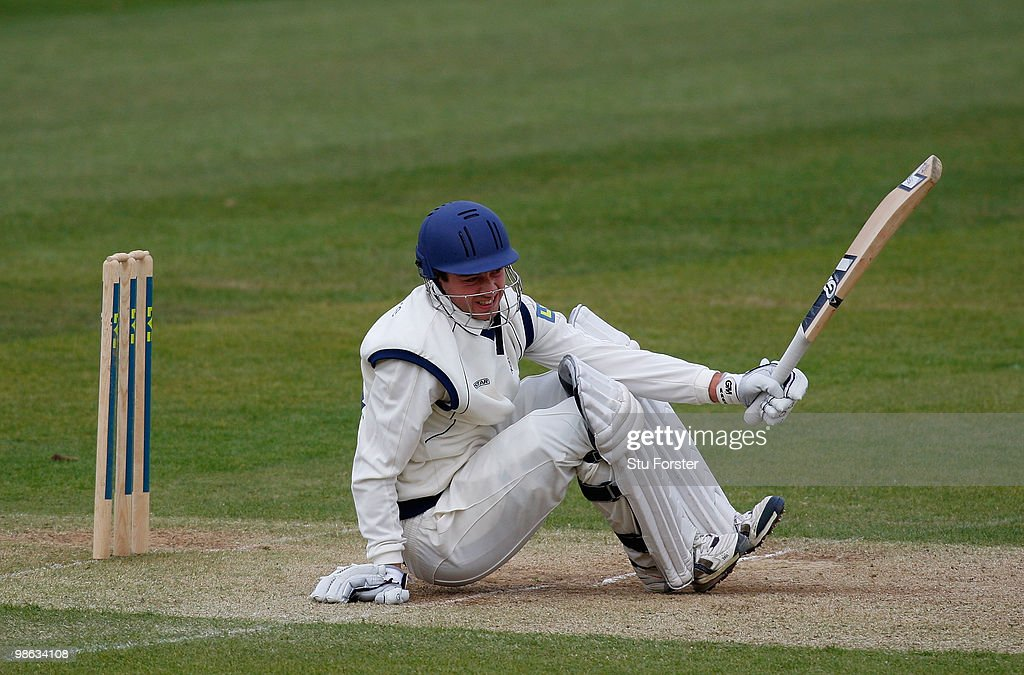 Hampshire batsman James Vince ends up on the floor after being felled by a short pitched ball from Liam Plunkett during day three of the LV County Championship division one match between Durham and Hampshire at The Riverside on April 22, 2010 in Chester-le-Street, England.
